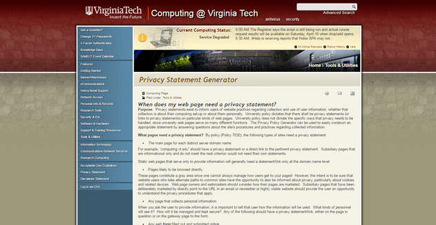 Virginia Tech Privacy Policy Template