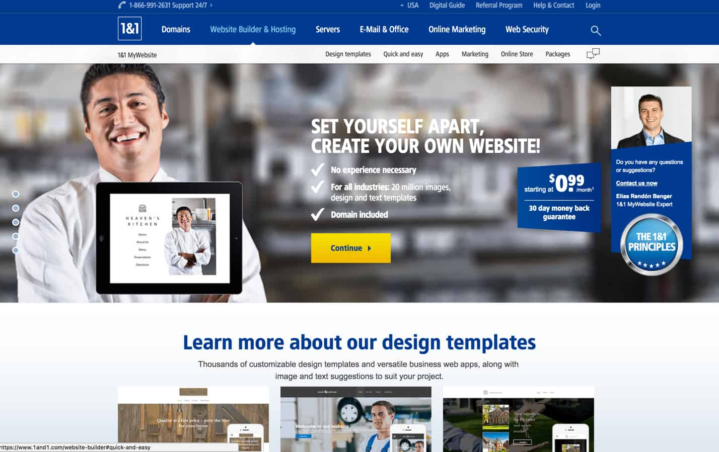 1&1 Website builder review