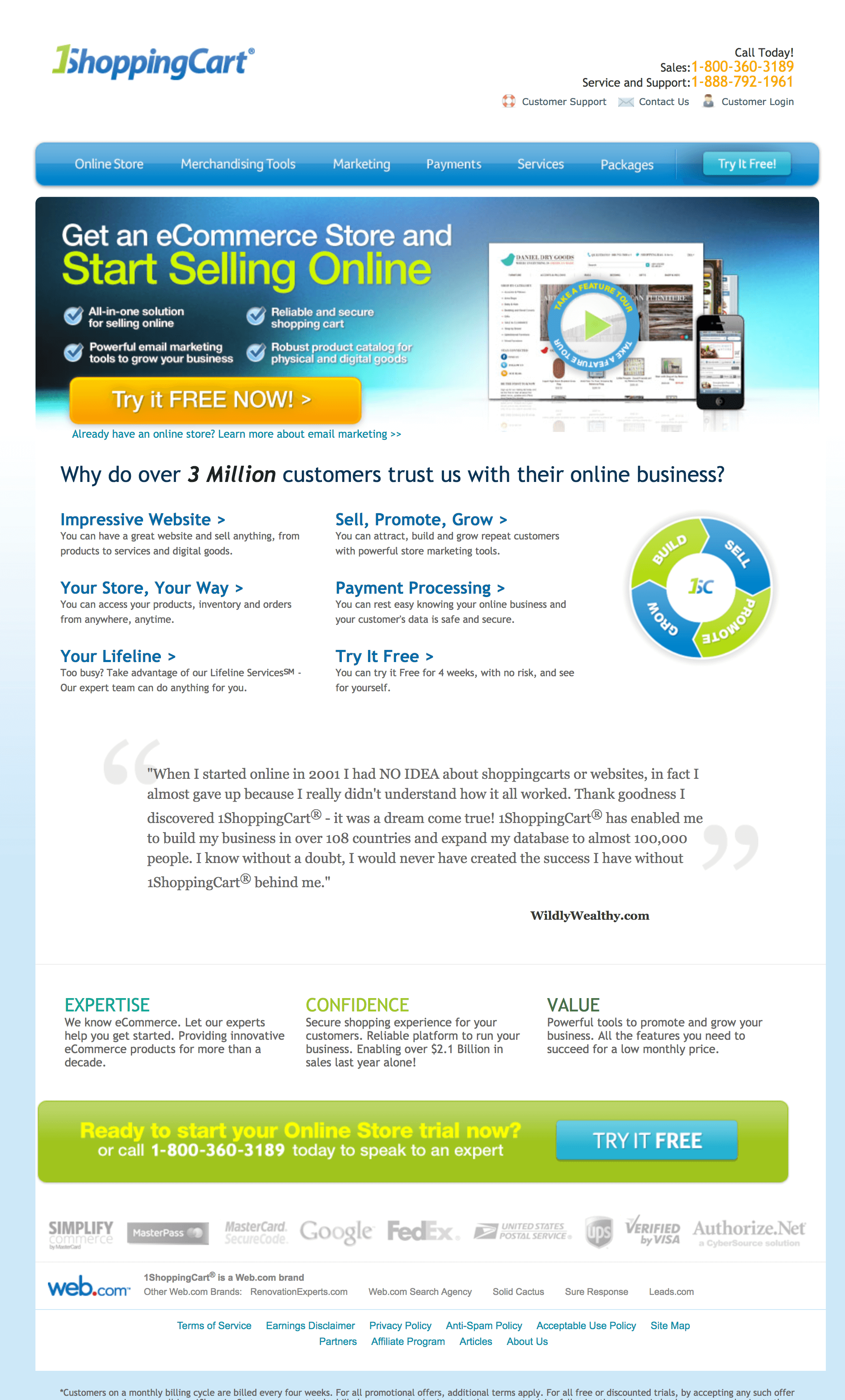 1shoppingcart homepage
