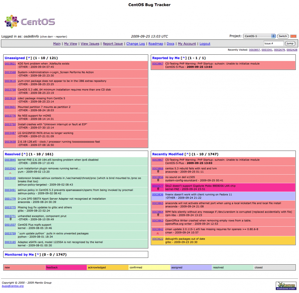 CentOS Mantis bug tracker