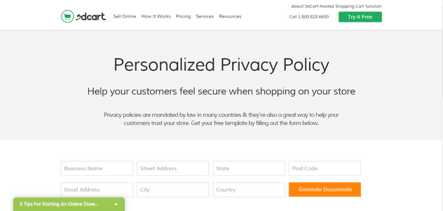 3dcart privacy policy creator