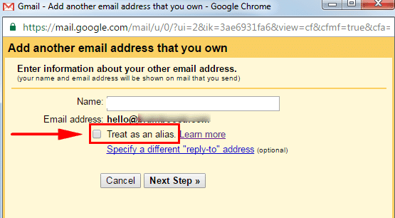 gmail untick treat as alias