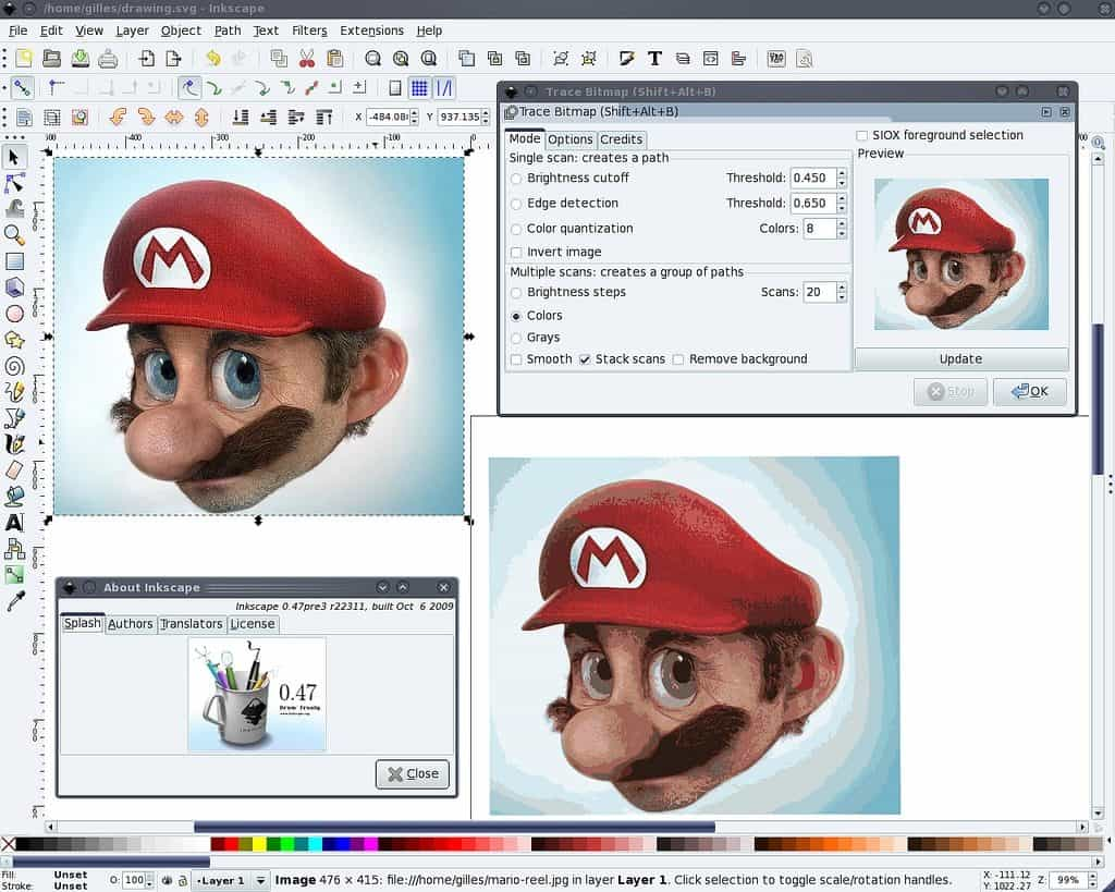 Mario drawn in InkScape