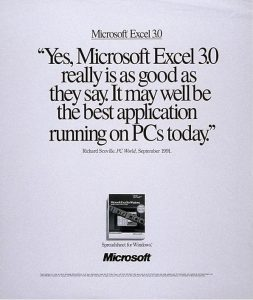 Microsoft Excel 3.0 Advertisement 1991-92