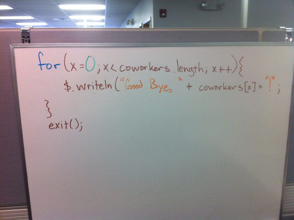'Good Bye' in JavaScript on a whiteboard