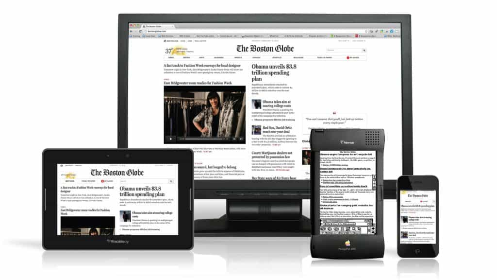 The responsive website for the Boston Globe