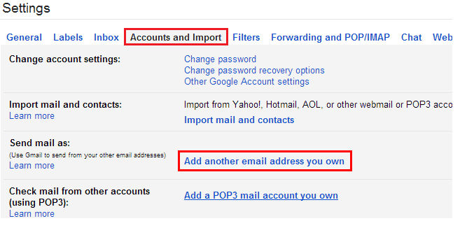 gmail add email address