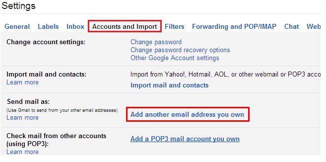 gmail add email address