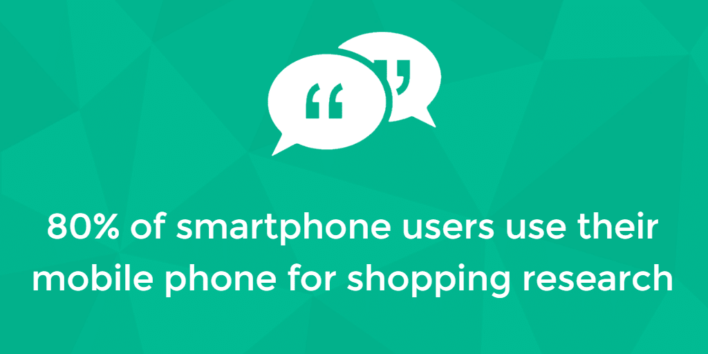 80% of smartphone users use mobile phones for shopping research