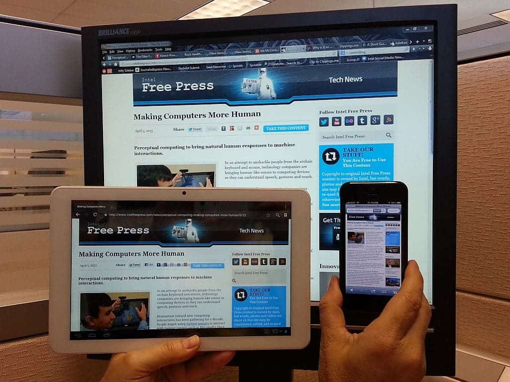 Example of a responsive website on a phone, tablet and computer