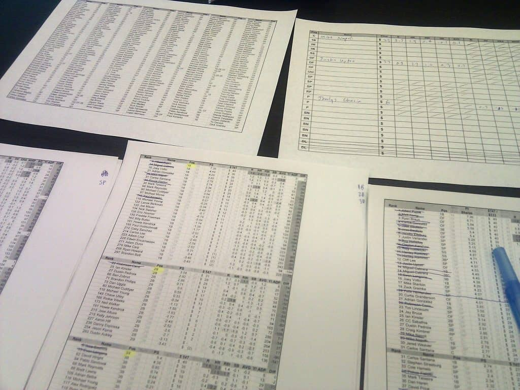 Auction draft printouts
