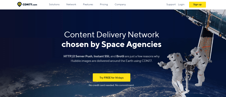 Screenshot of CDN77 home page