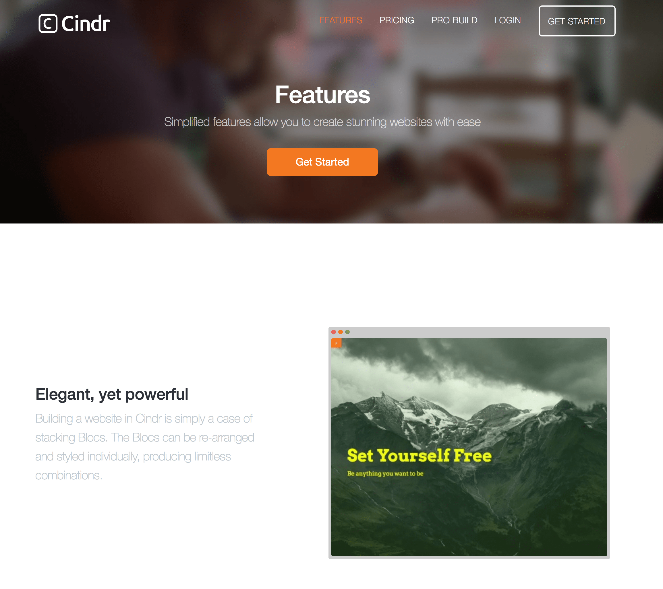 Cindr features page