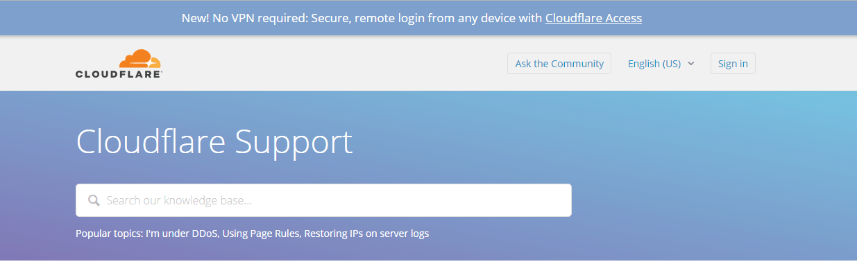 Screenshot of CloudFlare's support page