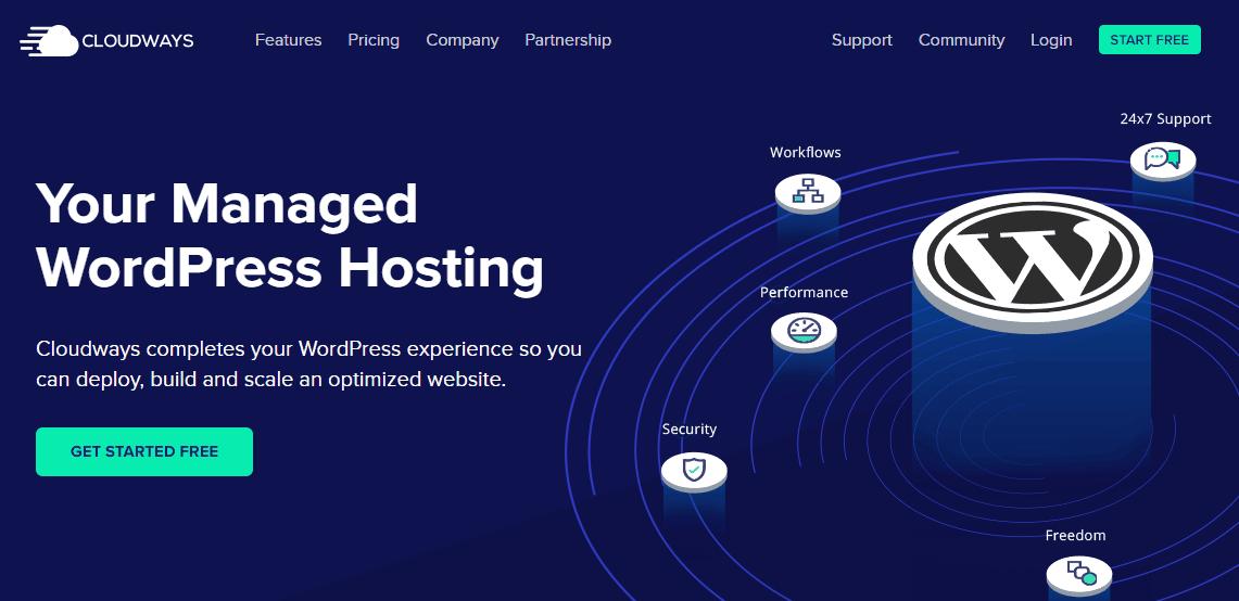 Screenshot of Cloudways WordPress hosting page