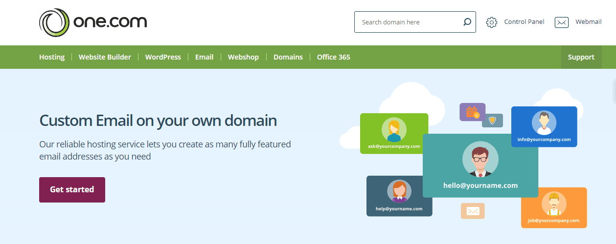 one.com screenshot