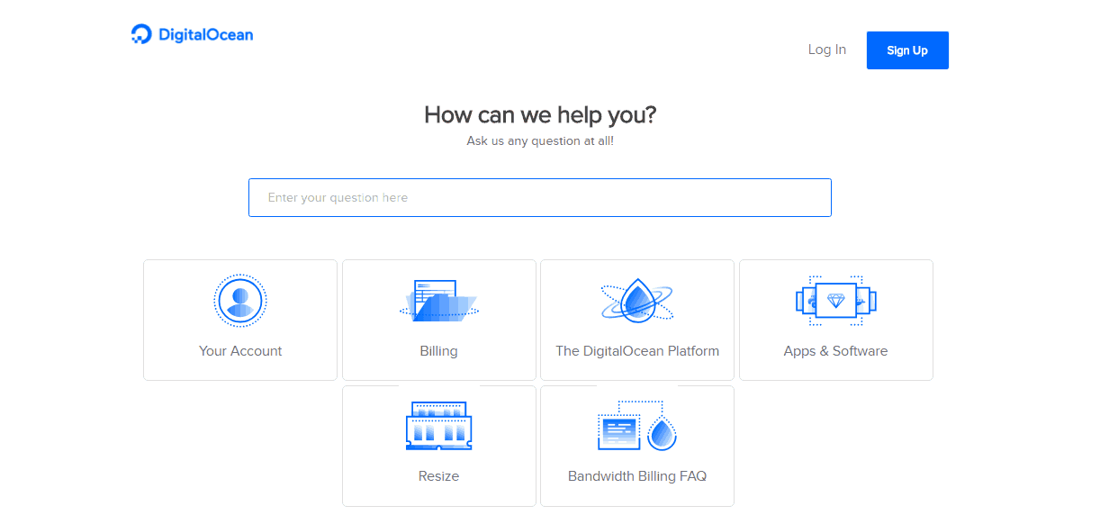 Screenshot of DigitalOcean's help page