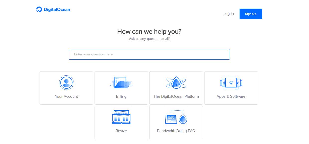 Screenshot of DigitalOcean's help page