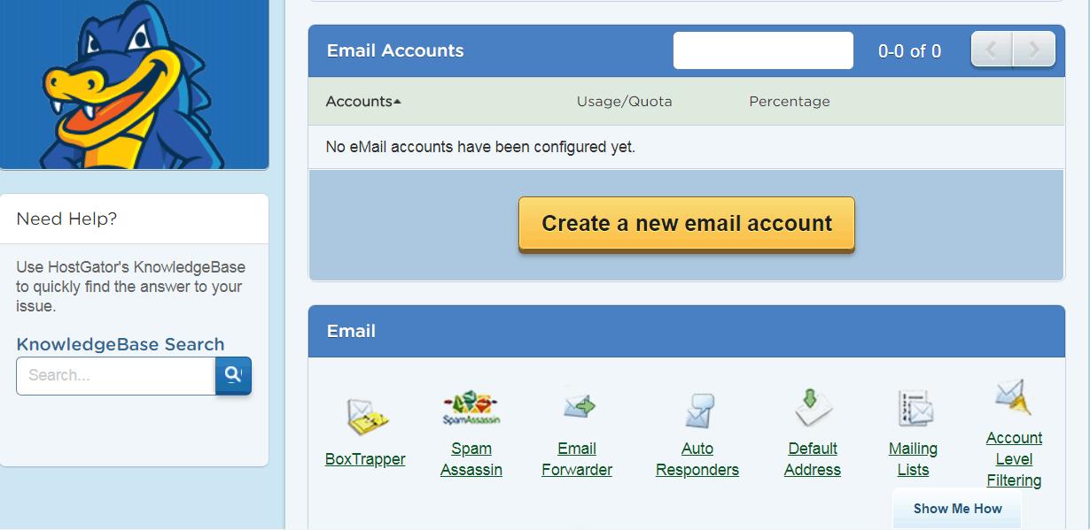 Screenshot of HostGator's email setup
