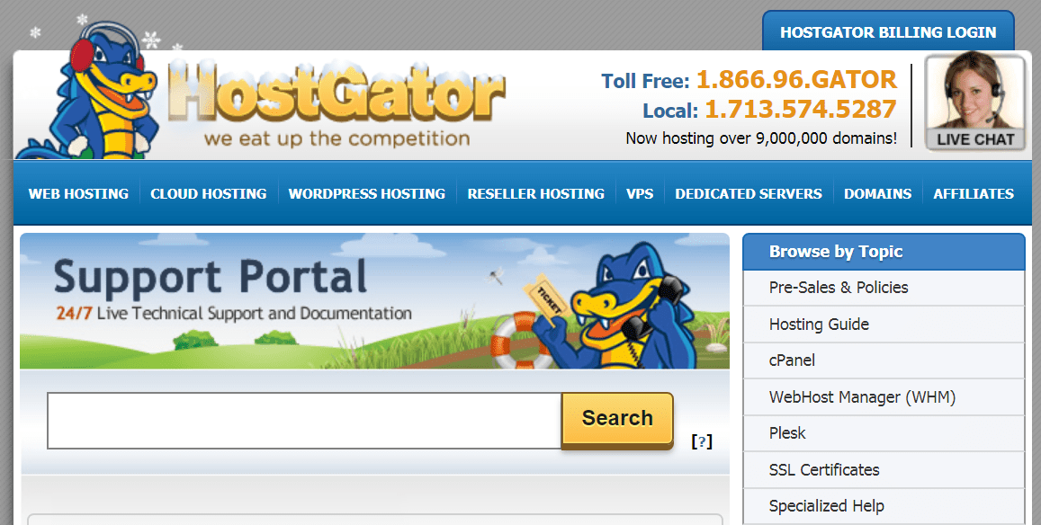 HostGator has several help and support options; screenshot of support portal