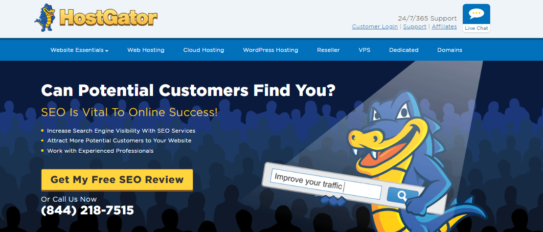 Screenshot of HostGator's free SEO review offer
