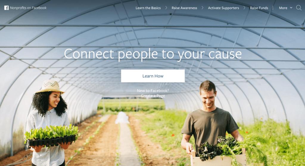 Facebook non-profit homepage