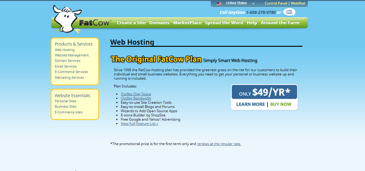 Screenshot of FatCow's web hosting features