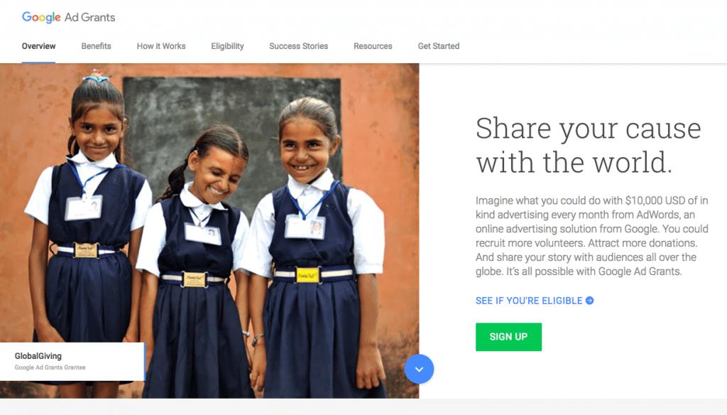 Google Ad Grants homepage