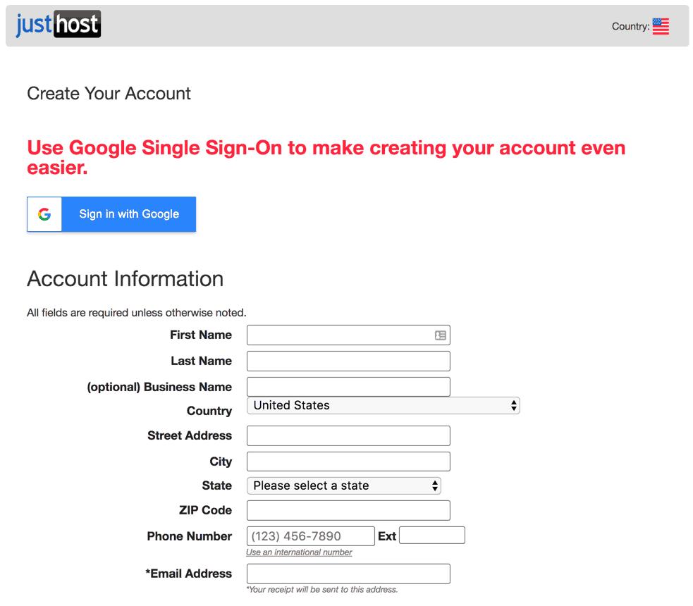 Just Host signup form