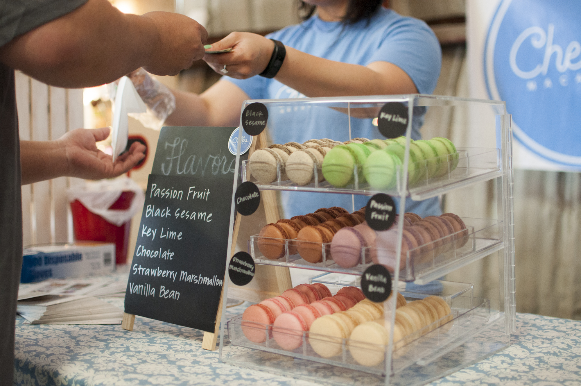 Macarons in a Glass Display