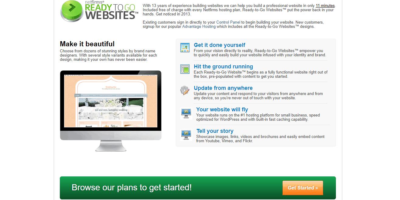 Netfirms Ready to Go Websites