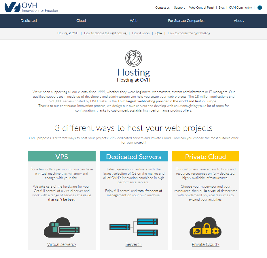 OVH web hosting offers cloud and VPS hosting on its international site