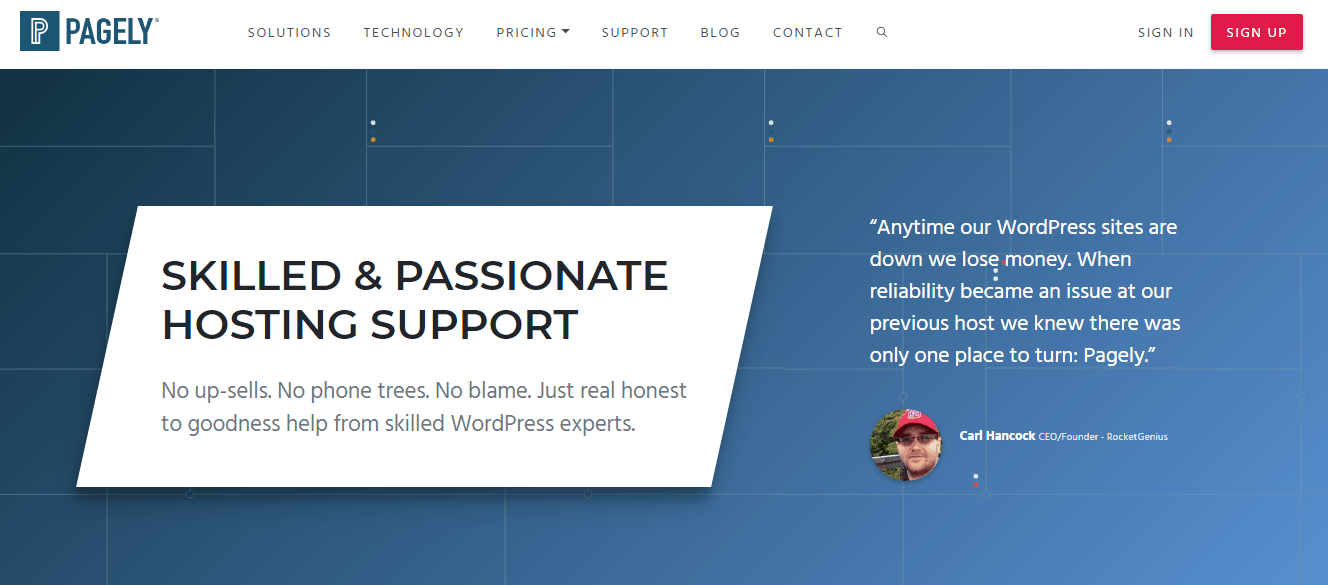 Screenshot of Pagely's Supprt page