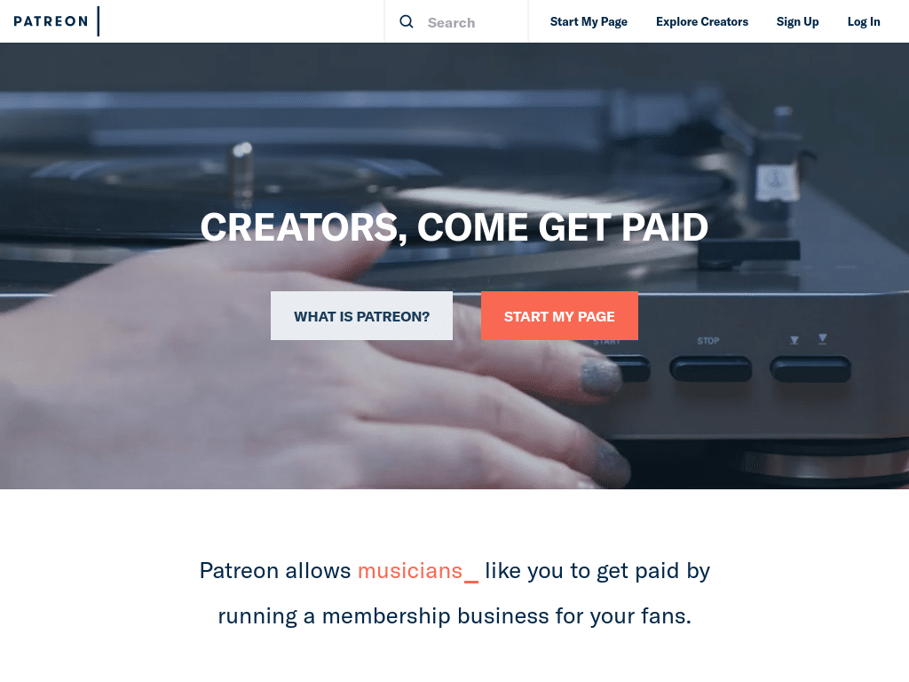 Patreon homepage