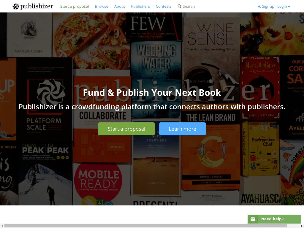 Publishizer homepage
