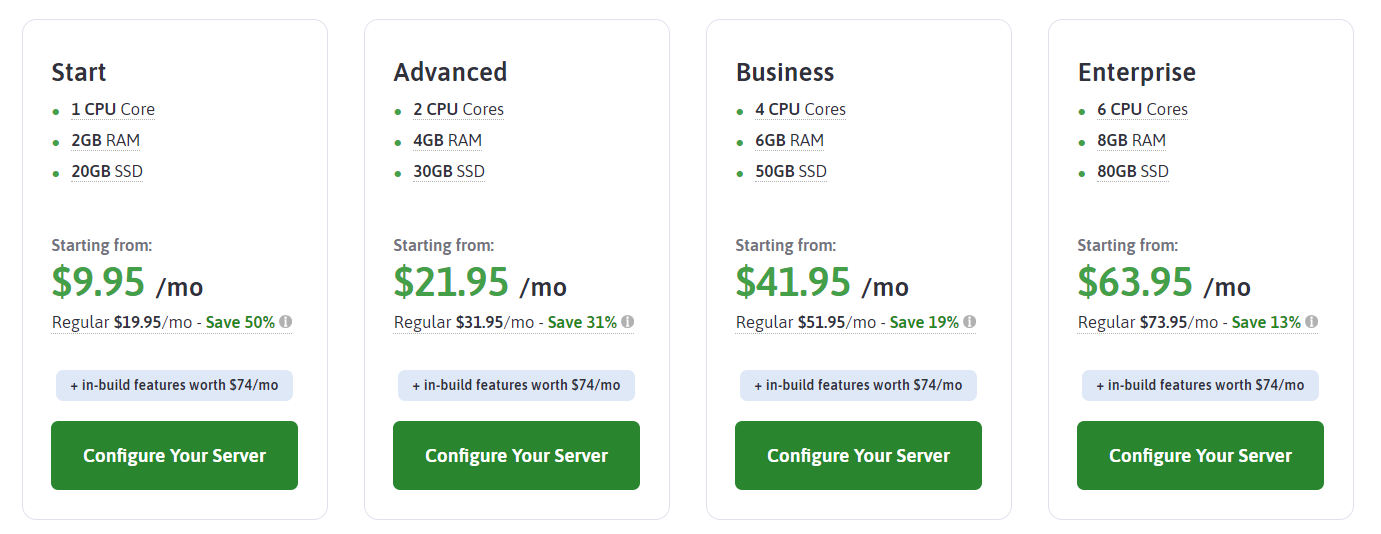 ScalaHosting managed VPS plans