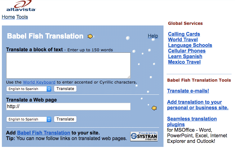 Altavista Babelfish in 2003