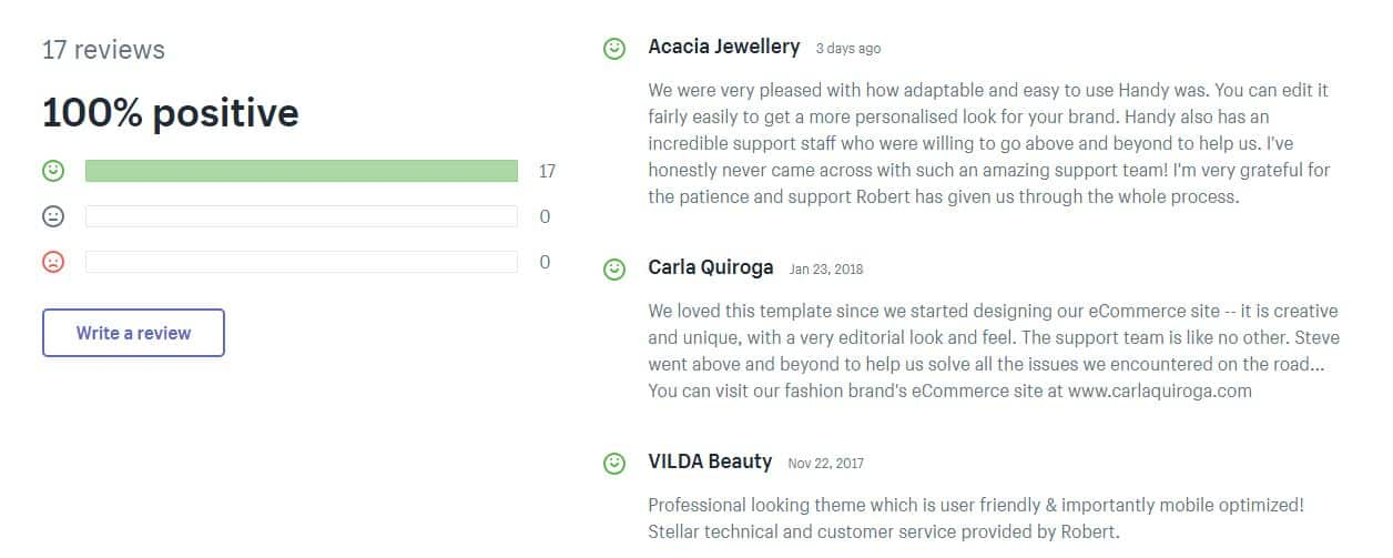 Comments on Shopify's Handy theme. Comments can help determine if a theme is a good fit for your online business.