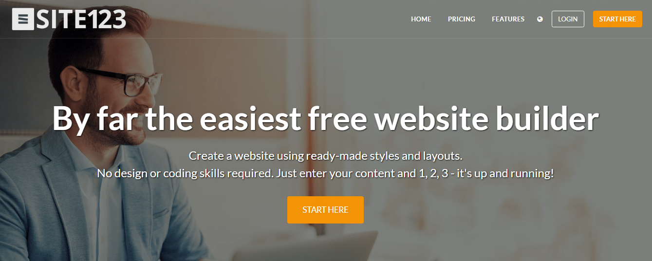 Site123's home page promotes the platform as the easiest sitebuilder