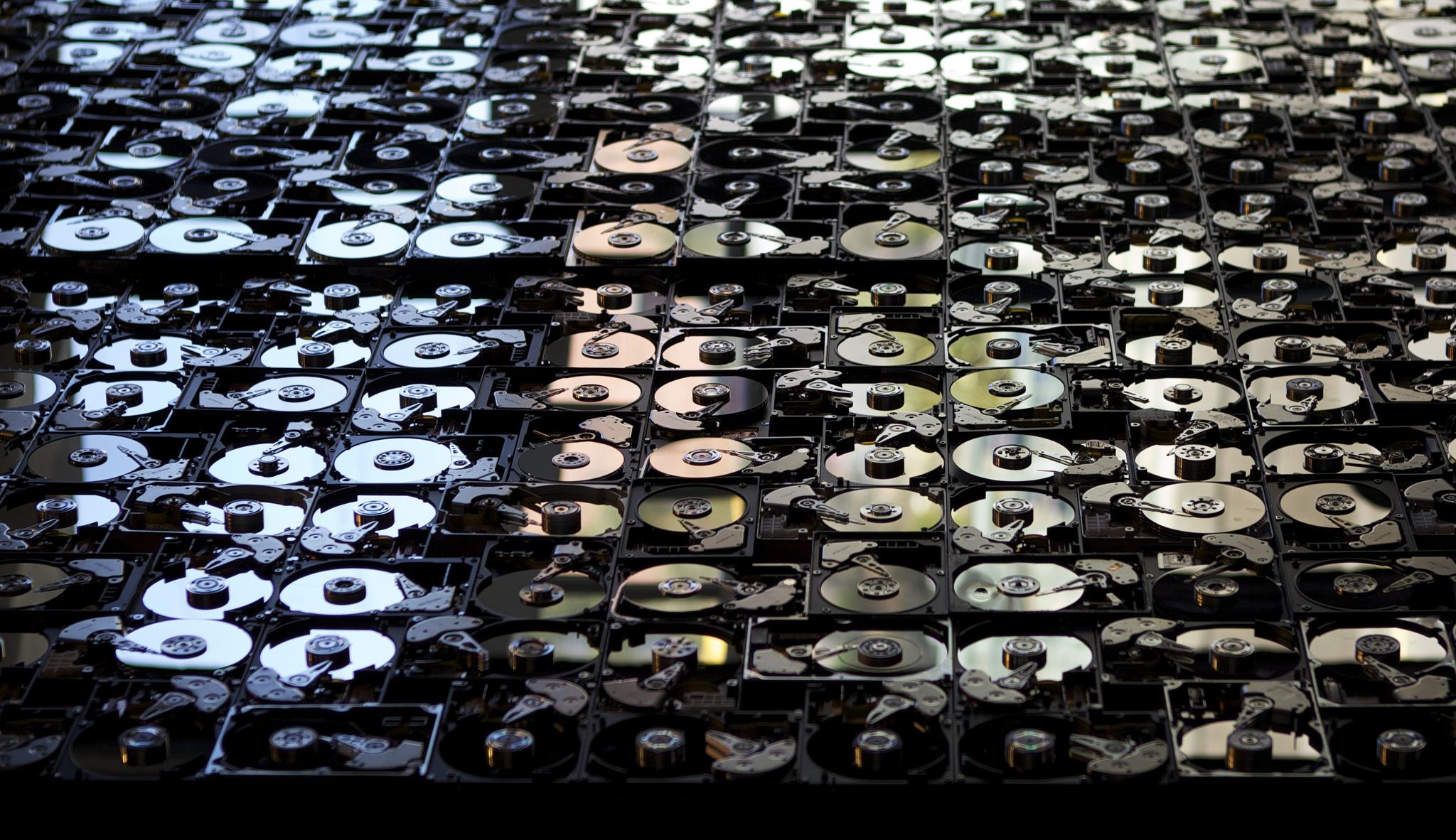 Wall of hard drives