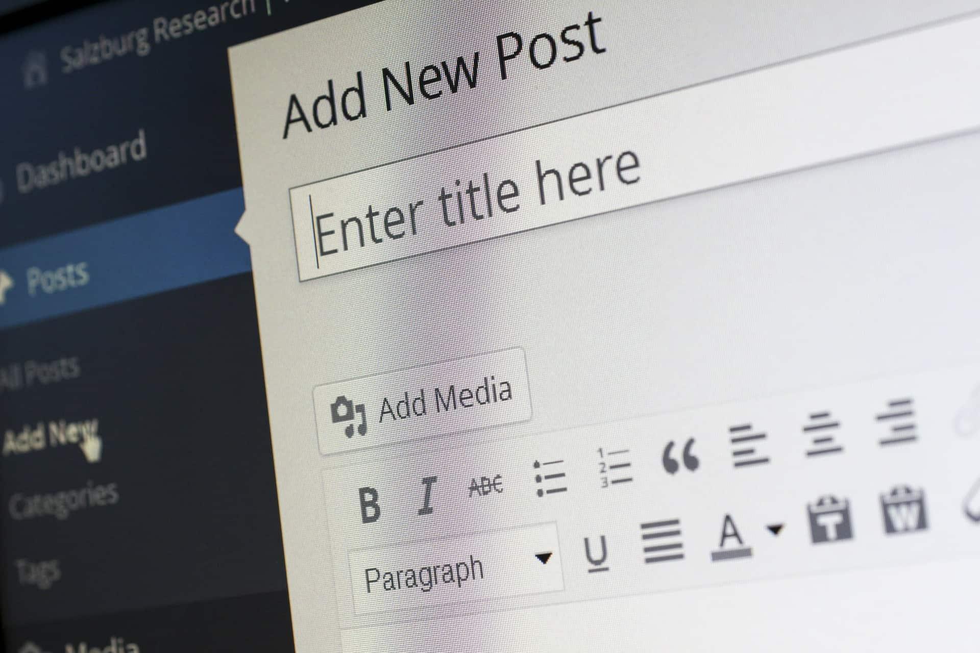 WordPress screen to create new post