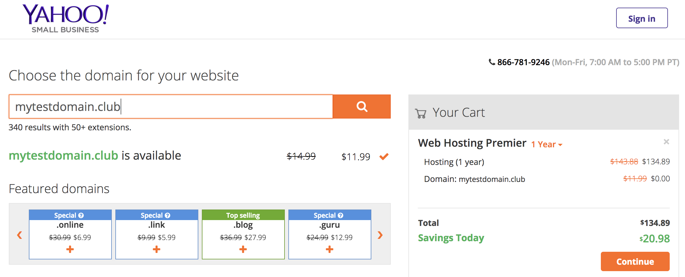 Yahoo Select Domain