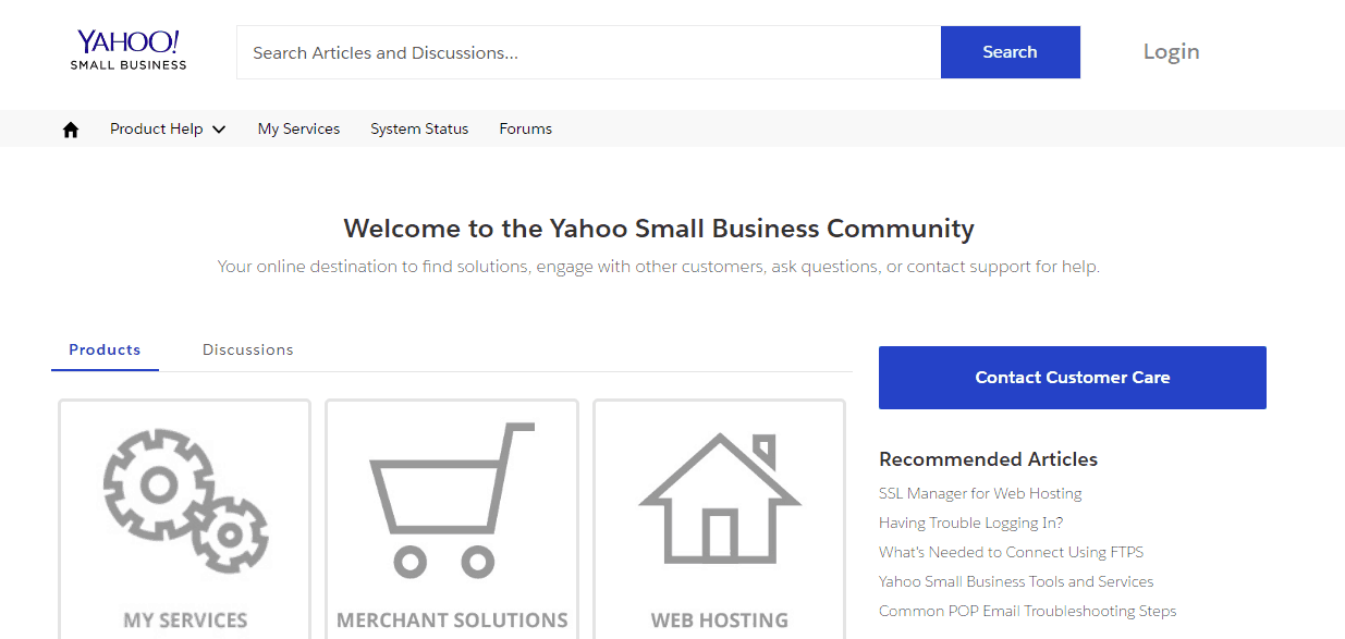 Screenshot of Yahoo Web Hosting support page