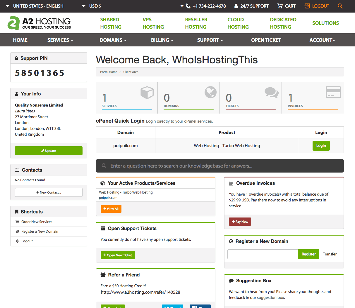 Linux hosting with A2 Hosting via WhoIsHostingThis.com