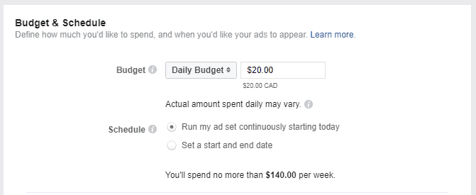 Budget settings for Facebook ads