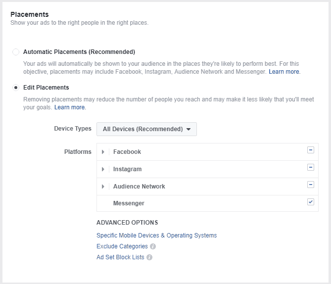 Placements settings for Facebook ads