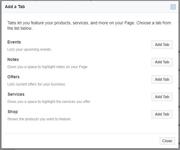 The add tab options on a Facebook page