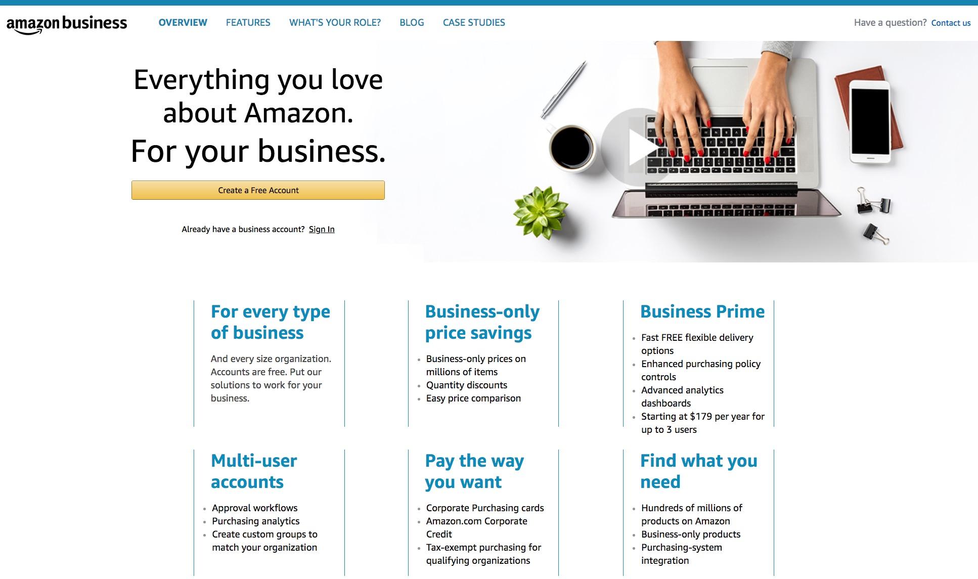 Amazon Business homepage