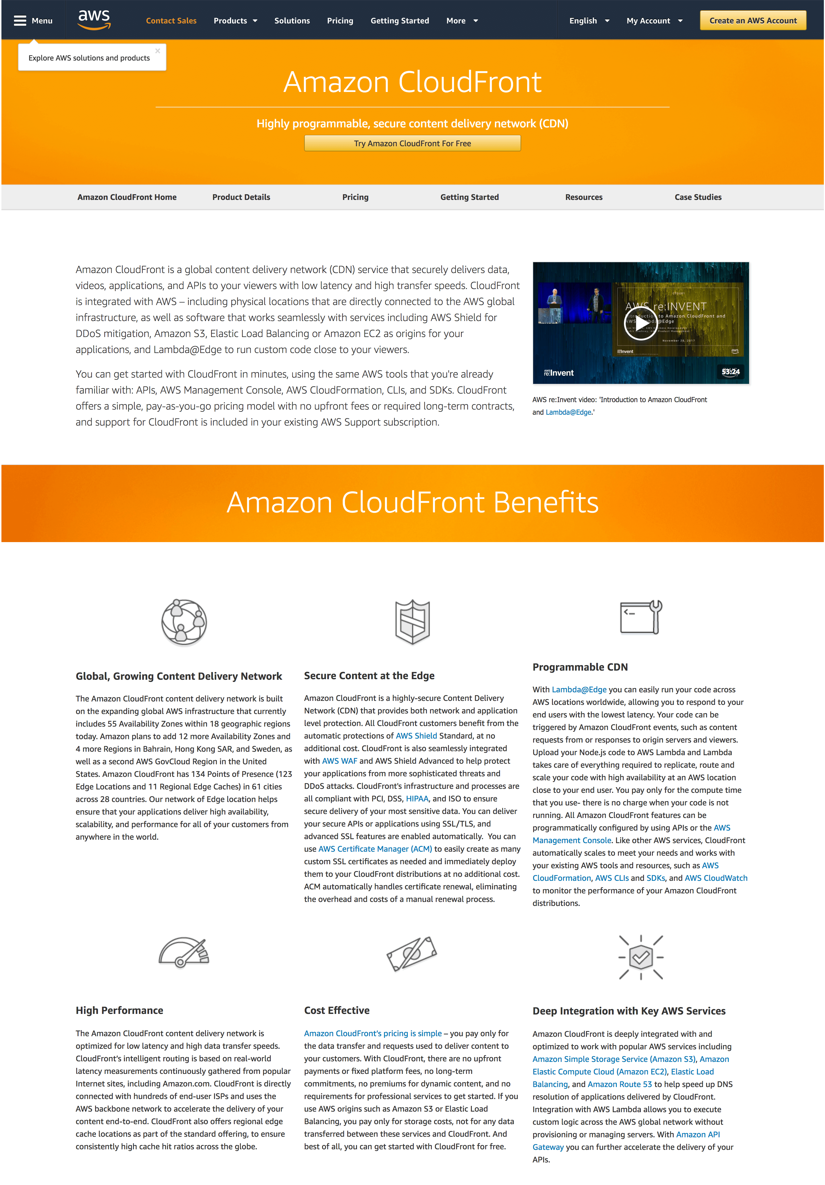amazon cloudfront homepage