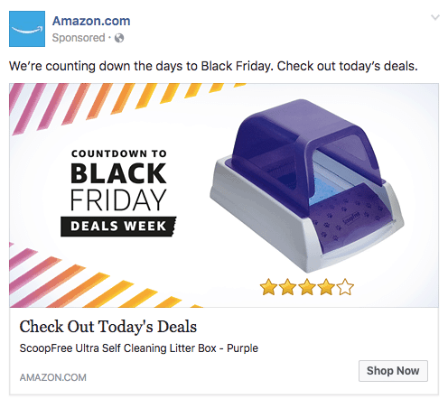 Example of a news feed ad on the Amazon Facebook page